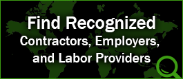 Find Recognized Contractors, Employers or Labor Providers